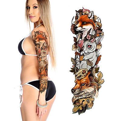Temporary Tattoo Sleeve Fox Rabbit Fake 3d Waterproof Body Art Arm Women S Mens Ebay