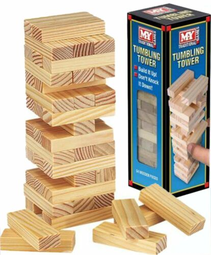Christmas stocking filler ty366 Large Tumbling Tower Wooden game 54 pieces 23cm
