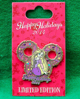 Disney Happy Holidays 2014 Rapunzel Tangled Wreath Pin Limited Edition