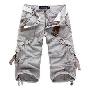 Mens-Army-Military-Combat-Cargo-Cotton-Leisure-Pants-Shorts-Popular-Belted-Vogue
