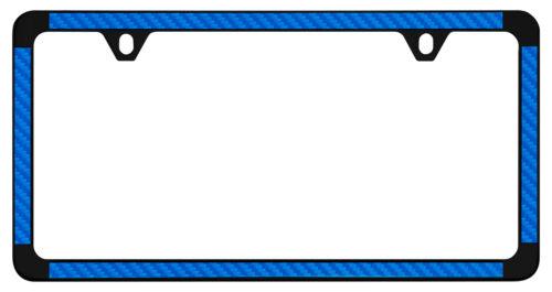 Blue Simulated Carbon Fiber On Black Powder Coated Thin Rim License Plate Frame
