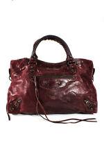 Balenciaga Womens Leather Shoulder Bag Handbag Burgundy