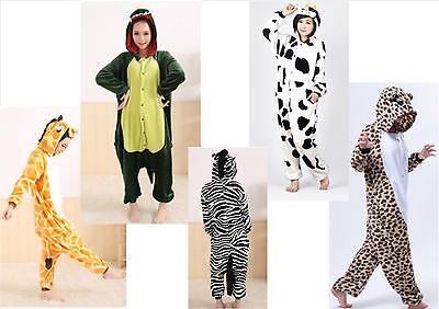 NEW UNISEX ANIMAL ONESIE PYJAMA COSTUME DRESS UP HOODED KIGURUMI ADULTS KIDS UK