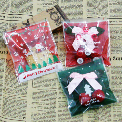 merry xmas cello cellophane cookie candy treat bags Peel N Seal party 3 designs
