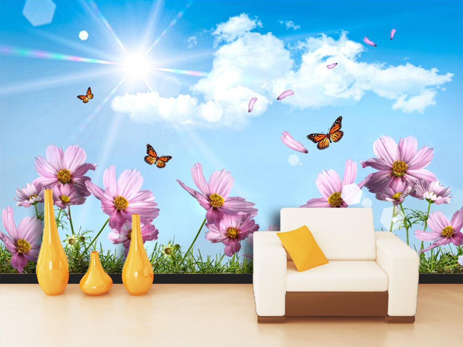 3D Butterflies Flowers 1249 Wallpaper Decal Dercor Home Kids Nursery Mural Home