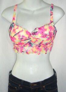 Victoria-039-s-Secret-Pink-Tie-Dye-Lace-Bright-Neon-Bohemian-Bra-Bralette-Push-Up-S