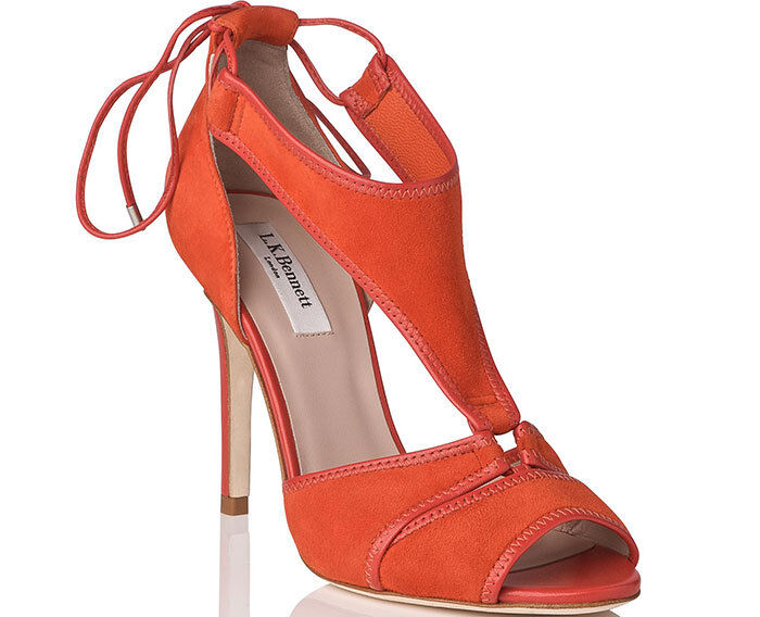 L.K. Bennett Giselle Sandals UK 5 38 Suede Heels Burnt Red orange Nicole Kidman