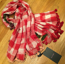 Paul Smith MULTICOLOUR Scarf with TASSEL edge 85cm x 81cm Red Check Pattern