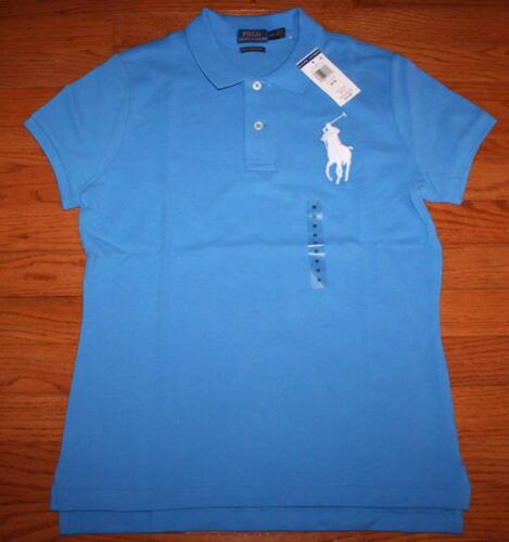 NEW NWT Womens Polo Ralph Lauren THE SKINNY POLO Shirt BIG PONY LOGO Cobalt *2H