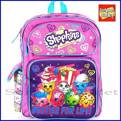 """Licensed Shopkins Besties for Life School Backpack 16/"""" inches Girls Book Bag"""
