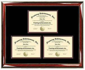 three certificate frame degree framing holds 3 diploma documents