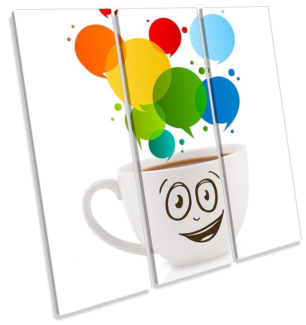 Happy TAZZA DI CAFFE 'CUCINA 'CUCINA 'CUCINA foto TREBLE TELA Wall Art Print 0137d2