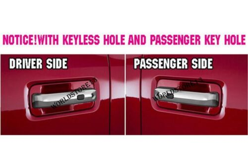 Chrome Door Handle Cover Trim with Smart Keyhole for Ford F150 F-150 2015-2017