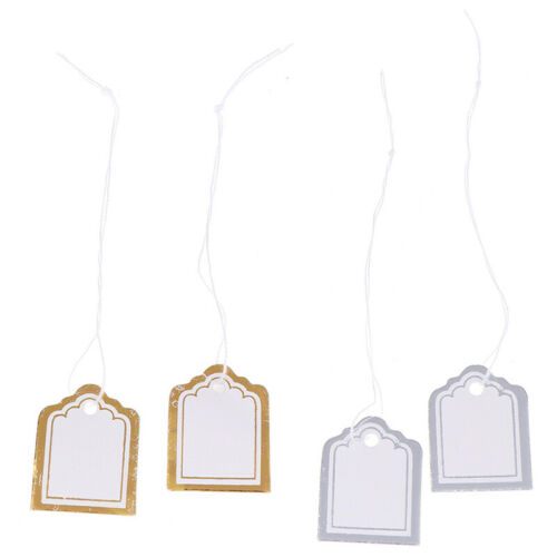 200x Gold border Label Tie String Ticket Jewelry Merchandise Price Tags~YJCA
