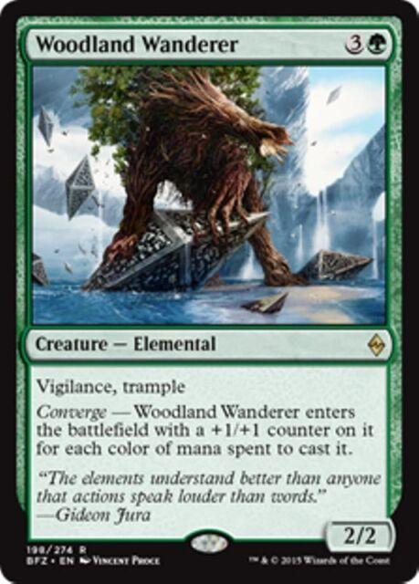 WOODLAND WANDERER Battle for Zendikar MTG Creature — Elemental Rare