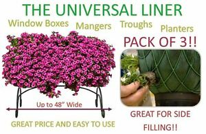 """3 PACK - Planter, Trough, Manger & Window Box Liner - Liners - Up to 48"""" Wide"""