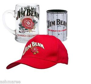 Jim-Beam-Cap-Hat-Glass-Handled-Stein-Can-Cooler-Gift-Pack-Gift-Set