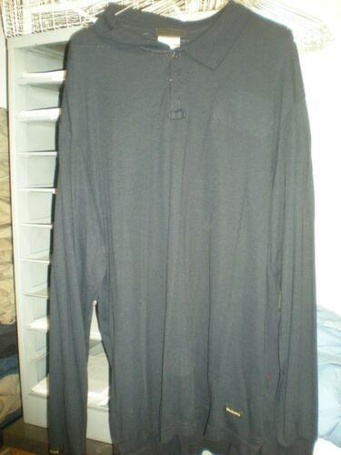 2 Workrite FR LARGE NAVY Tecasafe Plus Long Sleeve Polo Shirt #262TK67NB VGood