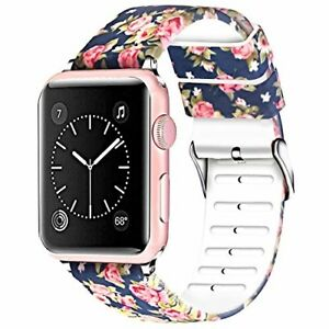 Navy Blue Floral Apple Watch Band 44mm 42mm Replacment Strap Series 1 2 3 4 Soft Ebay