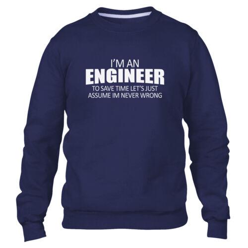 IM un ingegnere IM sempre ragione Divertente Da Uomo Felpa Kids Felpa