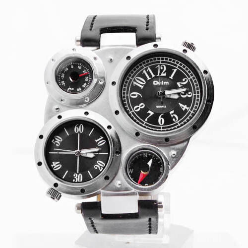 MEN WRIST WATCH Dual Time Zone Compass black and white STAINLESS STEEL UK05