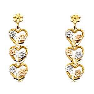 Ladies-Real-14k-Tri-Color-Gold-Triple-Heart-Hanging-Dangle-Post-Stud-Earrings