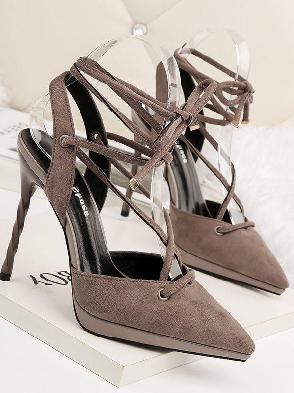Sandali stiletto eleganti decolte 11 cm grigio  lacci simil pelle eleganti 8739