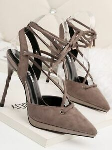 Sandalen-Stilett-Elegant-Pumps-11-CM-Grau-Leder-Kunststoff-Elegant-8739