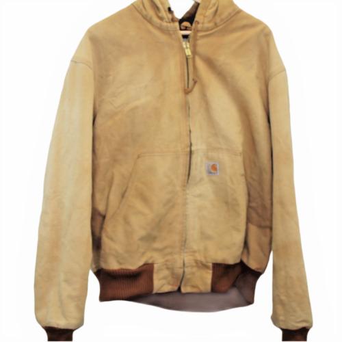 T127 Vintage Carhartt Lined Chore Brown Denim Hood