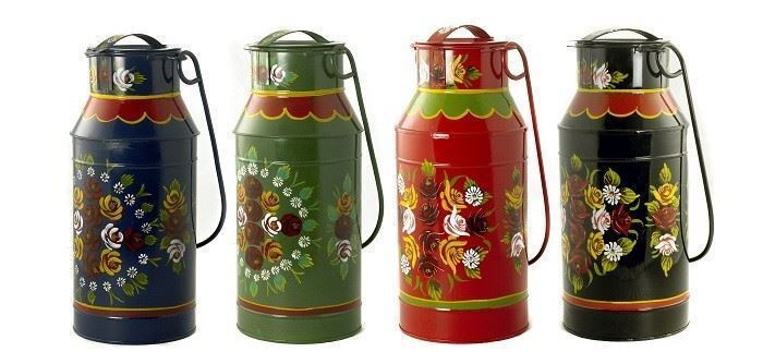 Hand Painted Milk Churn Planters in Various Colours
