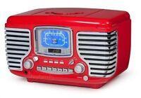 Crosley Cr612-re Corsair Retro Am/fm Radio Dual Alarm Clock Cd Player Cr-612 Red