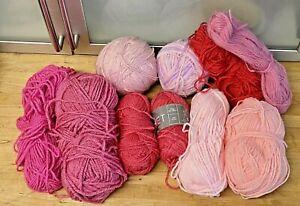 Knitting-Yarn-Wool-Lot-320g-Pinks-Crafts-Crochet-DK-Spinning-Feltting-New-6K