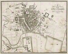 Mappa ANTICA 1823 Benn città di Belfast piano Northern Ireland art print poster lf1736