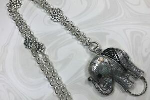Silver-amp-Black-Elephant-Lanyard-Silver-Chain-Badge-ID-Holder-Breakaway-Option