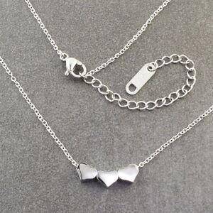 N335-Halskette-Edelstahl-Anhaenger-Herz-Silber-Damen-Necklace-Heart-Pendant-Kette
