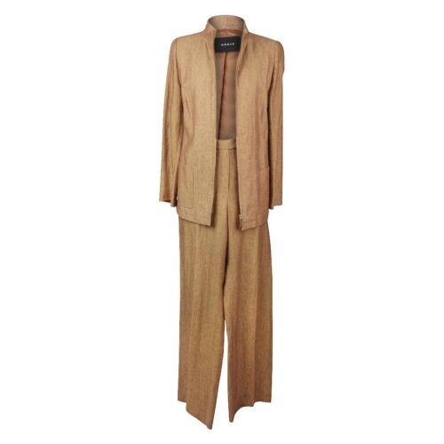 Akris Pant Suit Camel Linen Tweed Pant 10 Jacket 1