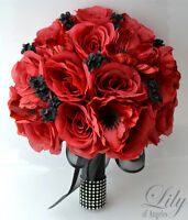 17pcs Wedding Bridal Bouquet Silk Flower Decoration Package Black Red Anemone