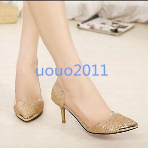 Image is loading Korean-New-Pump-Pointed-Toe-Stilettos-Womens-Ladies- caf97a3ffb2b
