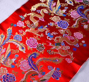 1-2-YD-CHINESE-RETRO-DAMASK-JACQUARD-BROCADE-FABRIC-CLASSIC-DRAGON-amp-PHOENIX