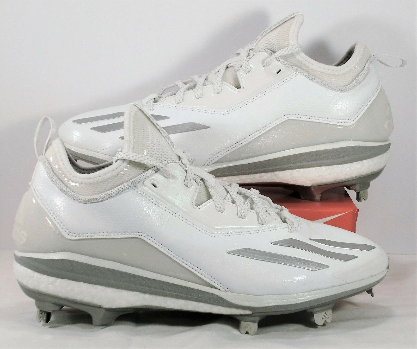 Adidas Energy Boost Icon 2 White Silver Metal Baseball Cleats Sz 8.5 NEW Q16532