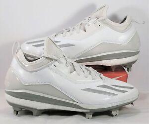 31b6a89fc Adidas Energy Boost Icon 2 White Silver Metal Baseball Cleats Sz 8.5 ...