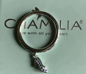 Genuine-Chamilia-Disney-Cinderella-Shoe-Ring-Size-7-N-Silver-Swarovski-Zirconia