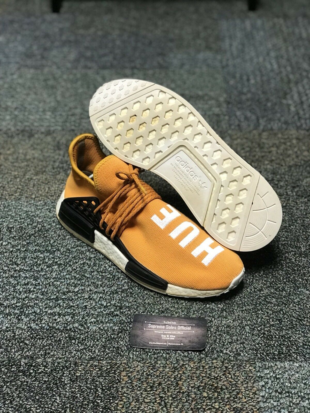 ADIDAS PW HUMAN RACE NMD BOOST PHARRELL TANGERINE orange BB3070 SIZE 10