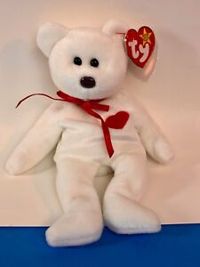 Image is loading Ty-Beanie-Babies-1993-Valentino-White-Bear-W- 9ea33eb1a9a
