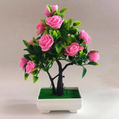 Artificial Potted Plant Fake-Rose Flower Bonsai Pot Home Garden Wedding Decor