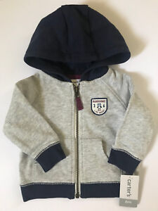 19c9dd0e5e32 Carters 6 Months French Terry Hooded Zip Cardigan Baby Boy Clothes ...
