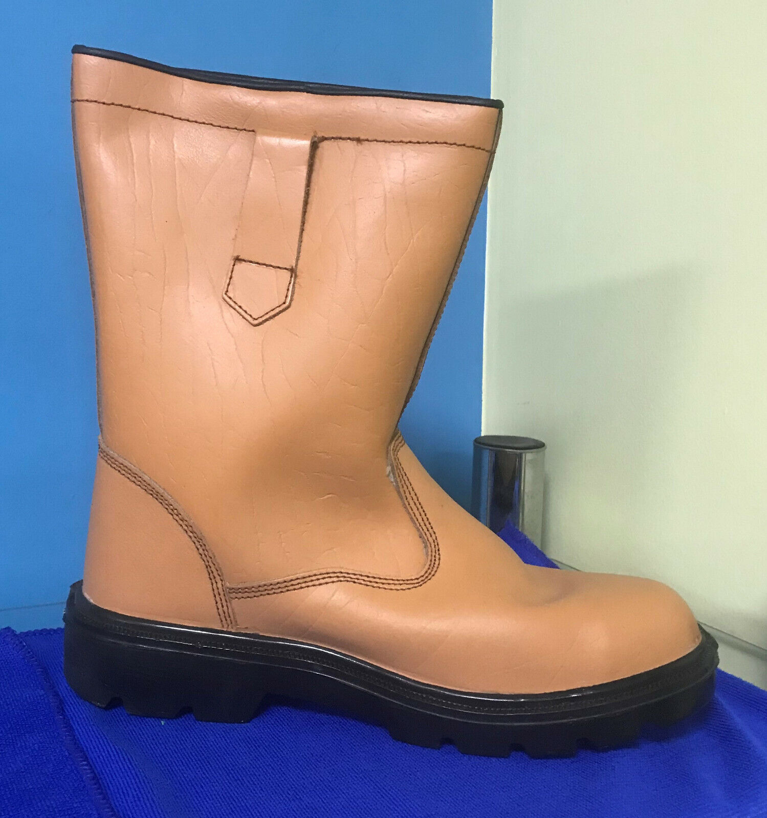 Toe Guard Rigger Safety Boots Steel Toe Cap Pull On Fur Lined Work UK SIZE 8
