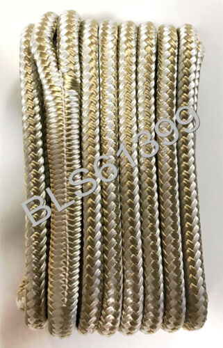 """White /& Gold Double Braided 1//2/"""" in x 15/' ft HD Boat Marine Dock Line Ropes 2"""