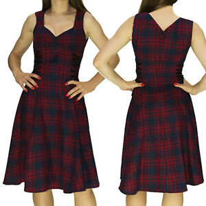 Rojo-Tartan-Disenador-Swing-Dress-by-Dr-Fausto-con-cinta-Damero-alternativa-Midi