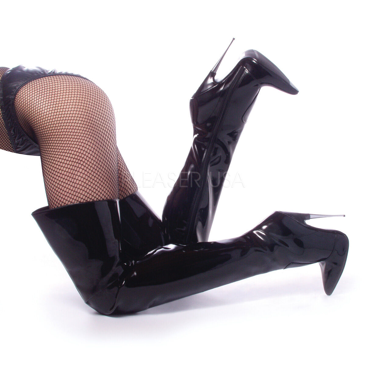 Exotic Sexy Extreme Metal 6  Spike Heel Black Thigh High Women's Boots SCR3010 B